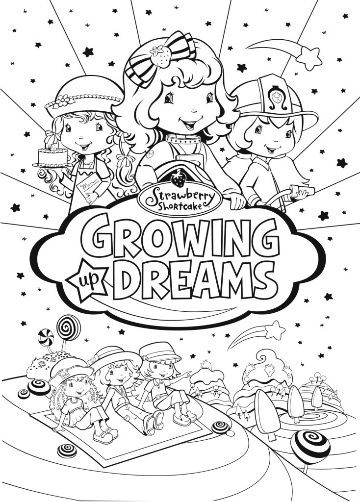 Win one of 5 copies of strawberry shortcake bright lights for Coloring pages of strawberry shortcake and friends