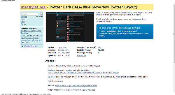 Twitter Dark CALM Blue Glow New Twitter Layout Themes and Skins for Twitter userstyles.org  Stylish can change your web experience easy using a Chrome and Firefox Add on