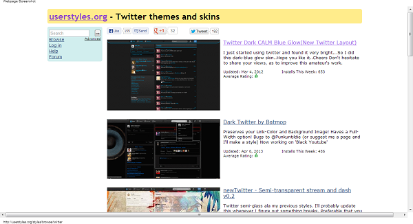 Twitter themes and skins userstyles.org  Stylish can change your web experience easy using a Chrome and Firefox Add on