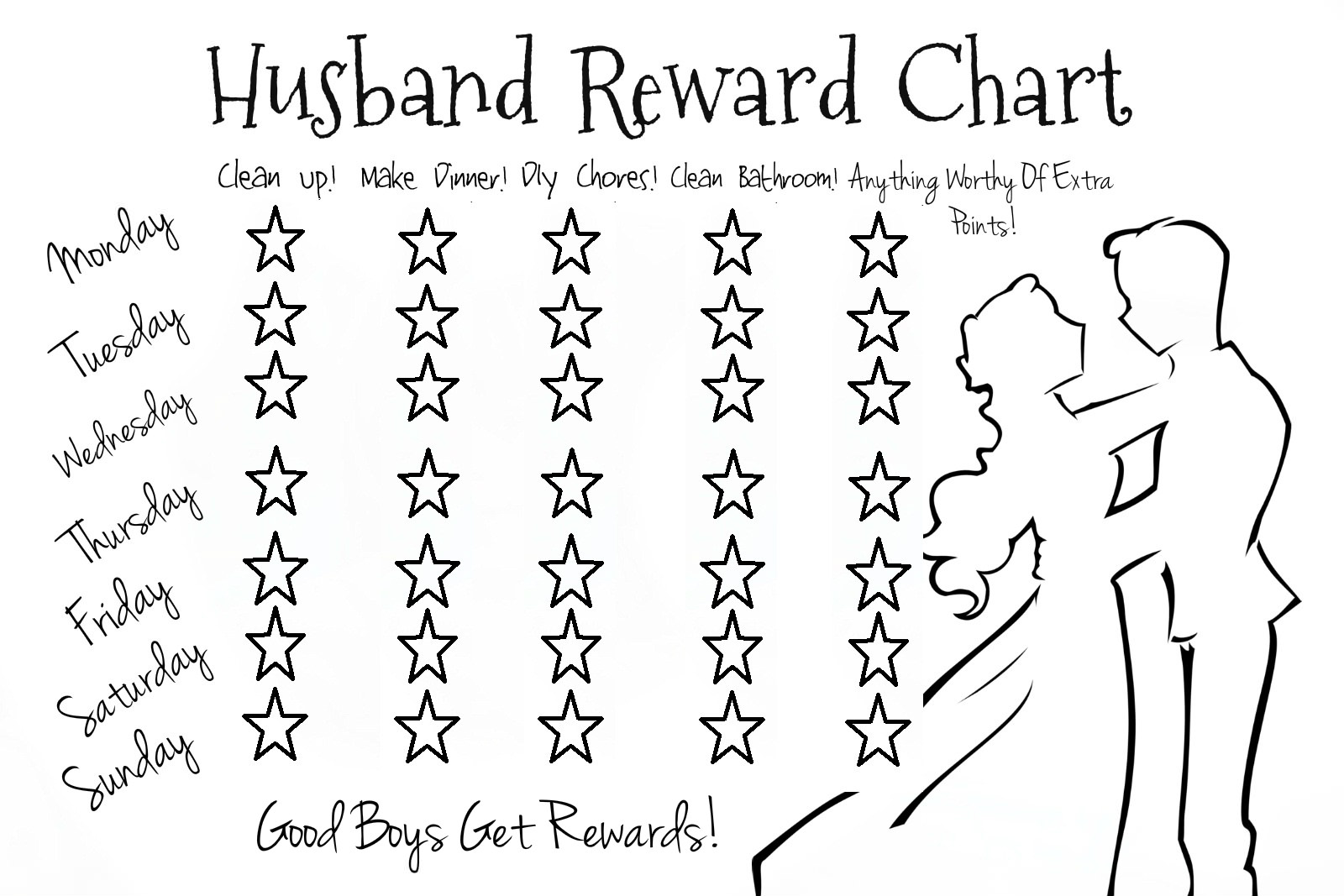 Lazy husband partner reward chart u me and the kids for Star chart for kids template