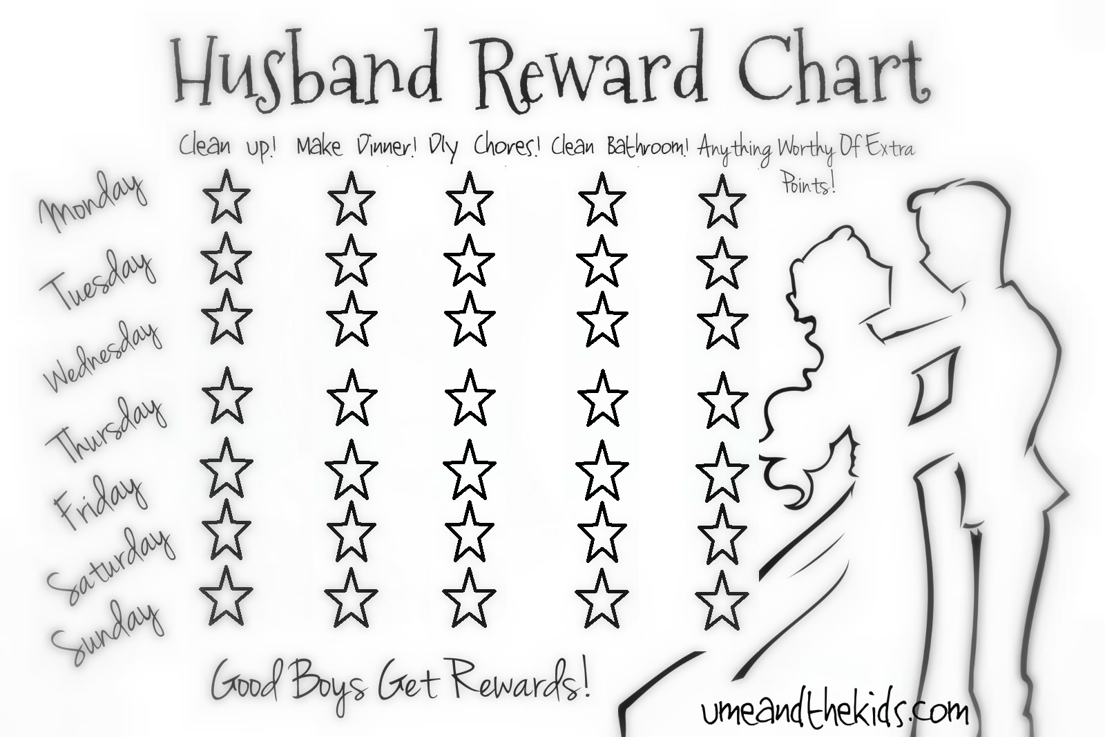 picture about Reward Chart Printable known as Lazy Partner/Lover Advantage Chart! - U me and the children