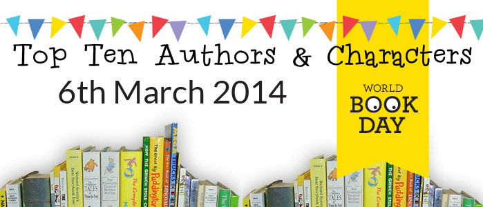 world book day 2014 World Book Day Top Ten Authors and Characters 2014