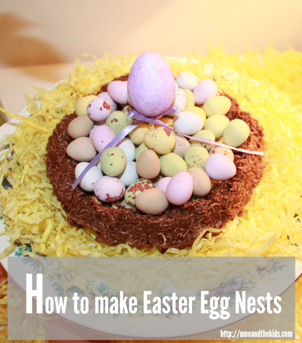 Easter Cake Recipe How to make Easter Egg Nests Finished nest with chocolate eggs