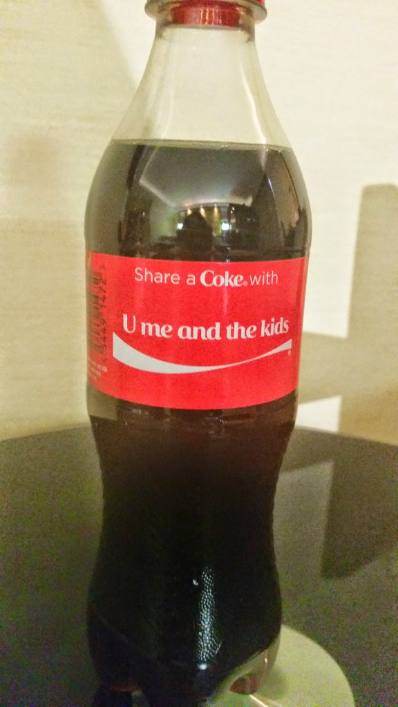 u me and the kids coca cola bottle