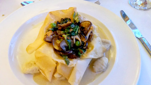 Ox Pasture Hall-Crispy Tartlet Wild Mushroom, Spring Greens, Pea Puree, Truffle Gnocchi