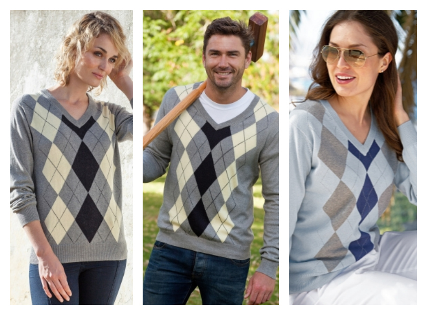 woolovers Ladies Argyle sweater in Cashmere & Merino wool