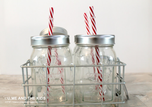Old School Milk bottles with straws in basket