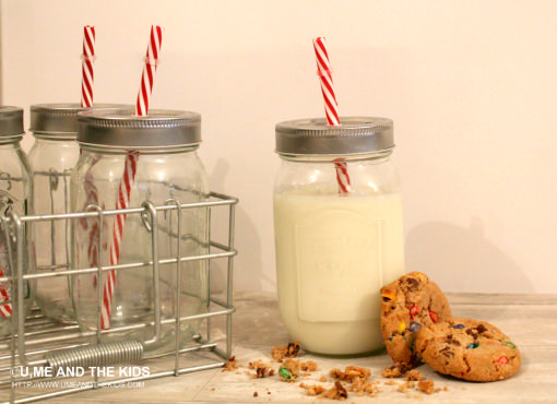 Old School Milk bottles with straws with milk & biscuits