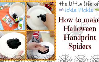 halloween handprint spiders