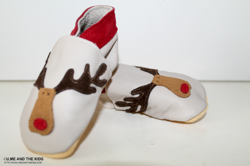 Christmas gifts for kids Rudolph the Reindeer Leather Baby Booty Shoes