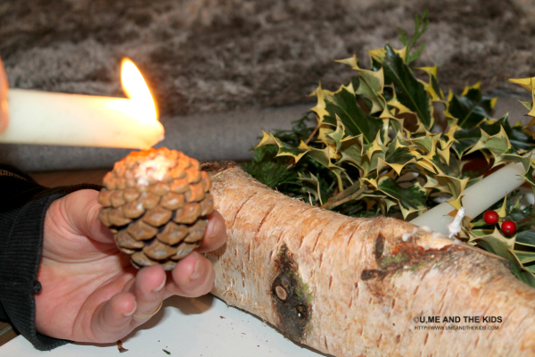 Easy Christmas Crafts For Kids - Step 4 adding the fern How to make a Yule Log