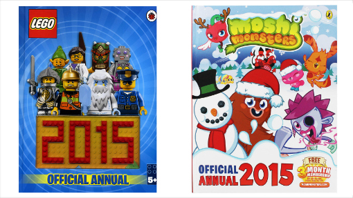 christmas gifts for kids lego 2015 and moshi monsters annuals