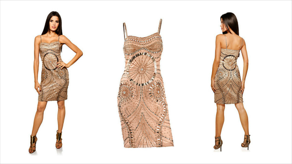 christmas party outfits - gold sequined dress