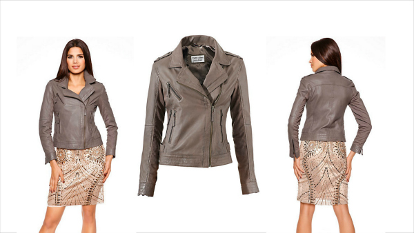 christmas party outfits - lamb nappa leather jacket grey