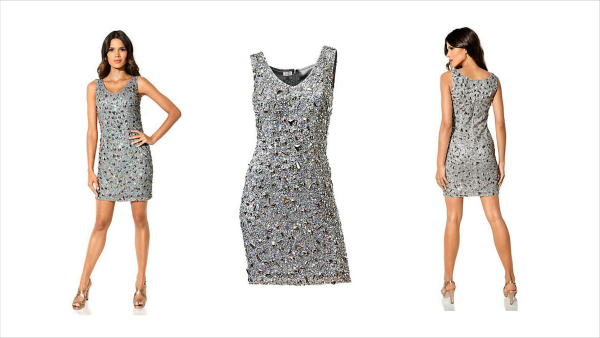 christmas party outfits silver sequinned dress