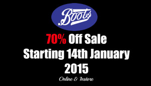 Boots 70% off Sale January 2015 (updated)
