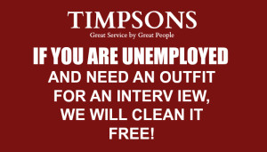 Timpsons Free Interview Outfit Dry Cleaning for Unemployed