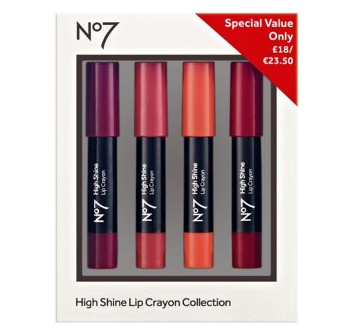 Boots Deals No7 High Shine Lip Crayon Collection