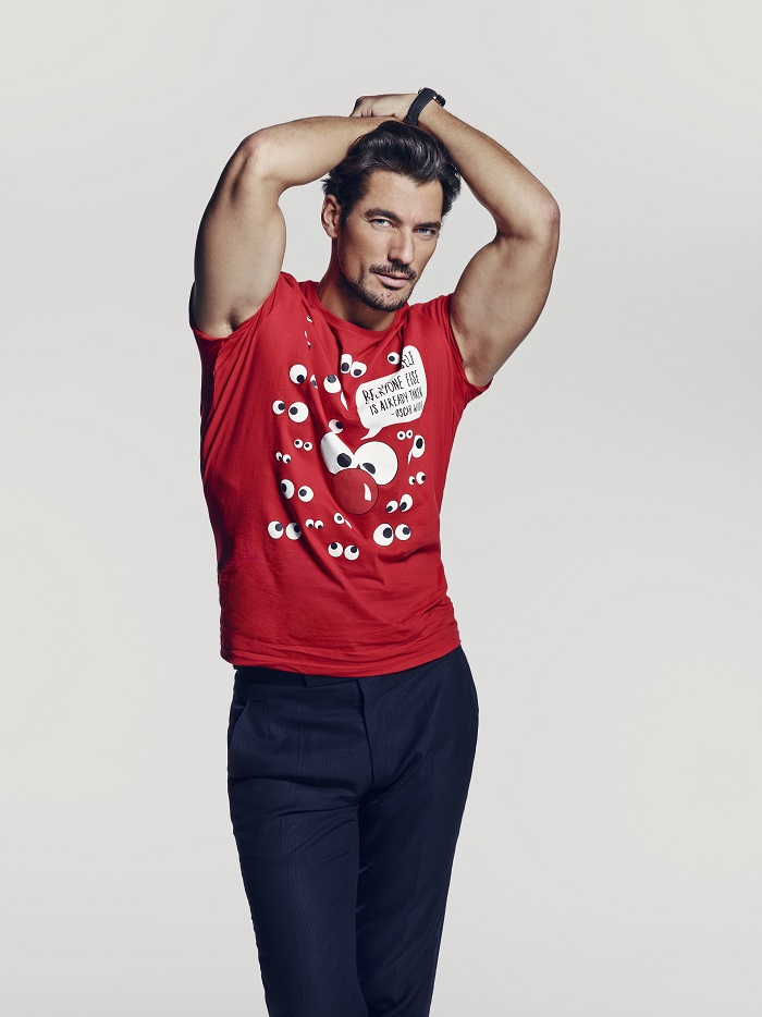 David Gandy wearing one of the red nose day  2015 t shirts at tk maxx