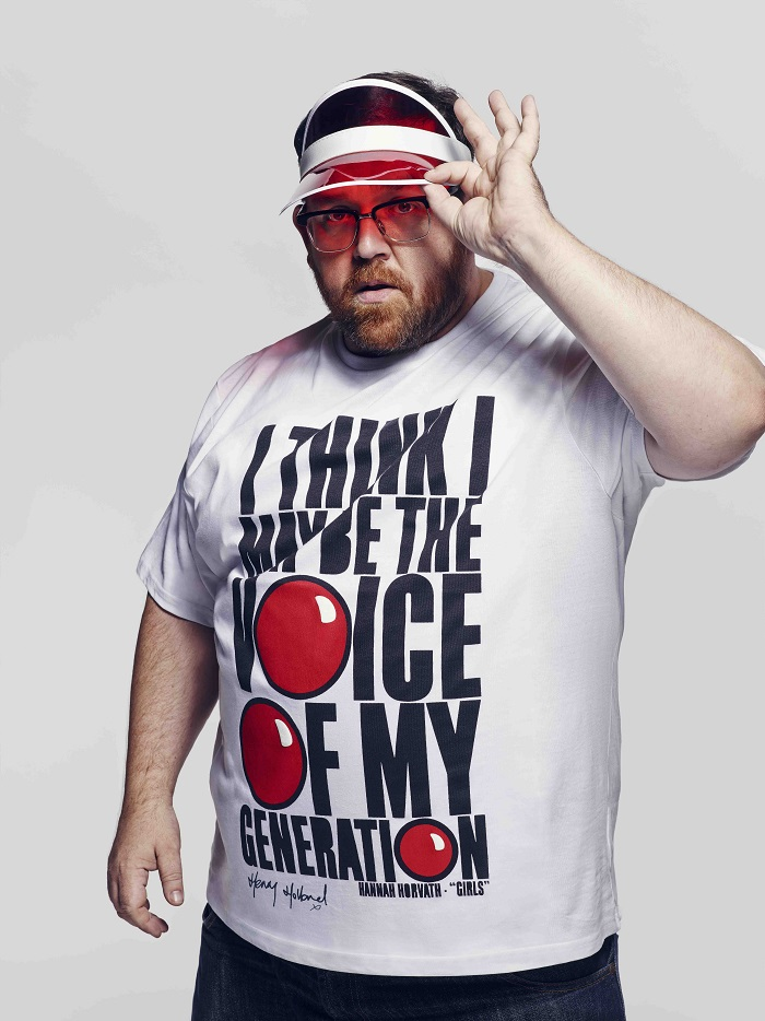 Nick Frost wearing one of the red nose day  2015 t shirts at tkmaxx