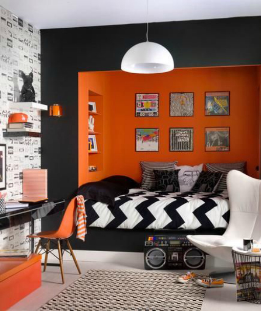 Teen room ideas - Black, Orange modern room