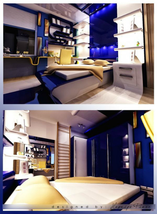 Teen Room Ideas, Blue and White Bedroom