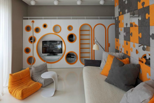 Teen Room Ideas, White, Orange, Modern stylish