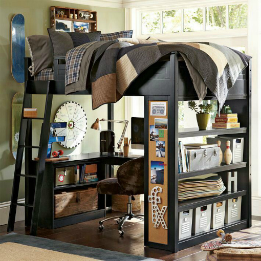 Teen Room Ideas, Green, Black and Bunk Beds