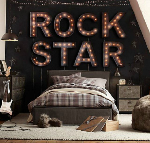 Teen Room Ideas Stars, Black, Beige and Rock Star Lighting