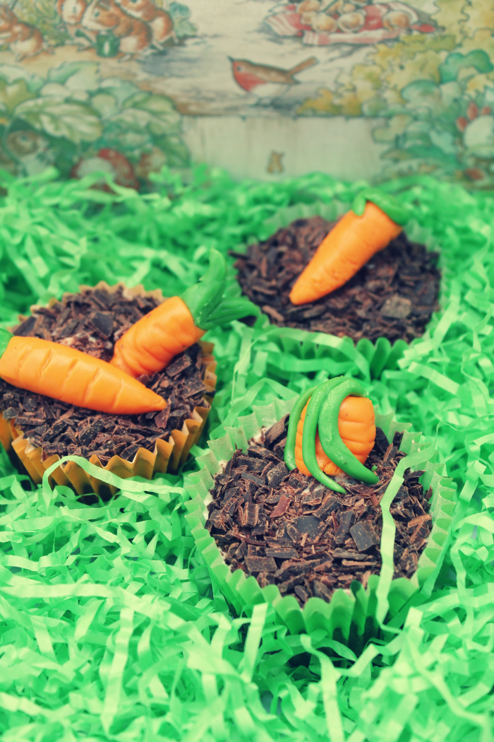 Easy Recipes - Mr McGregor's Mud Carrot Cake Cupcakes close up view