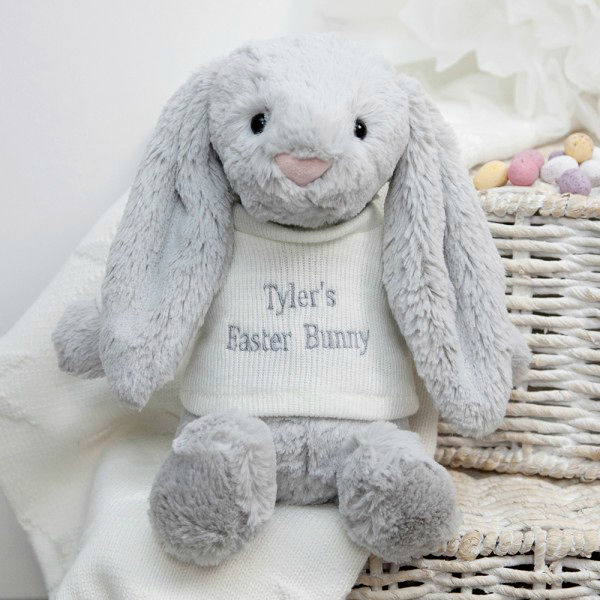 Personalised Baby Gifts Jellycat Bashful Silver Bunny £20.00