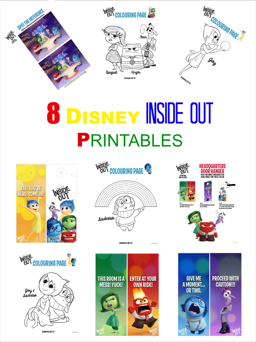 8 Disney Inside out printables, door hanger, activity sheets,colouring pages