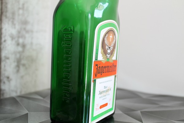 recycled Jagermeister vase - side view