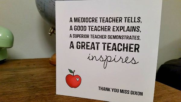 Personalised Inspiring Teacher Card