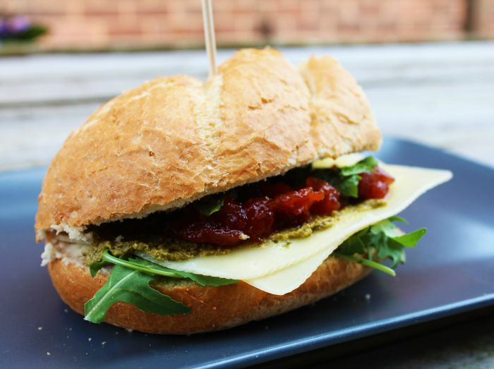 Cheesy Pesto Rocket Crusty bread Sandwich