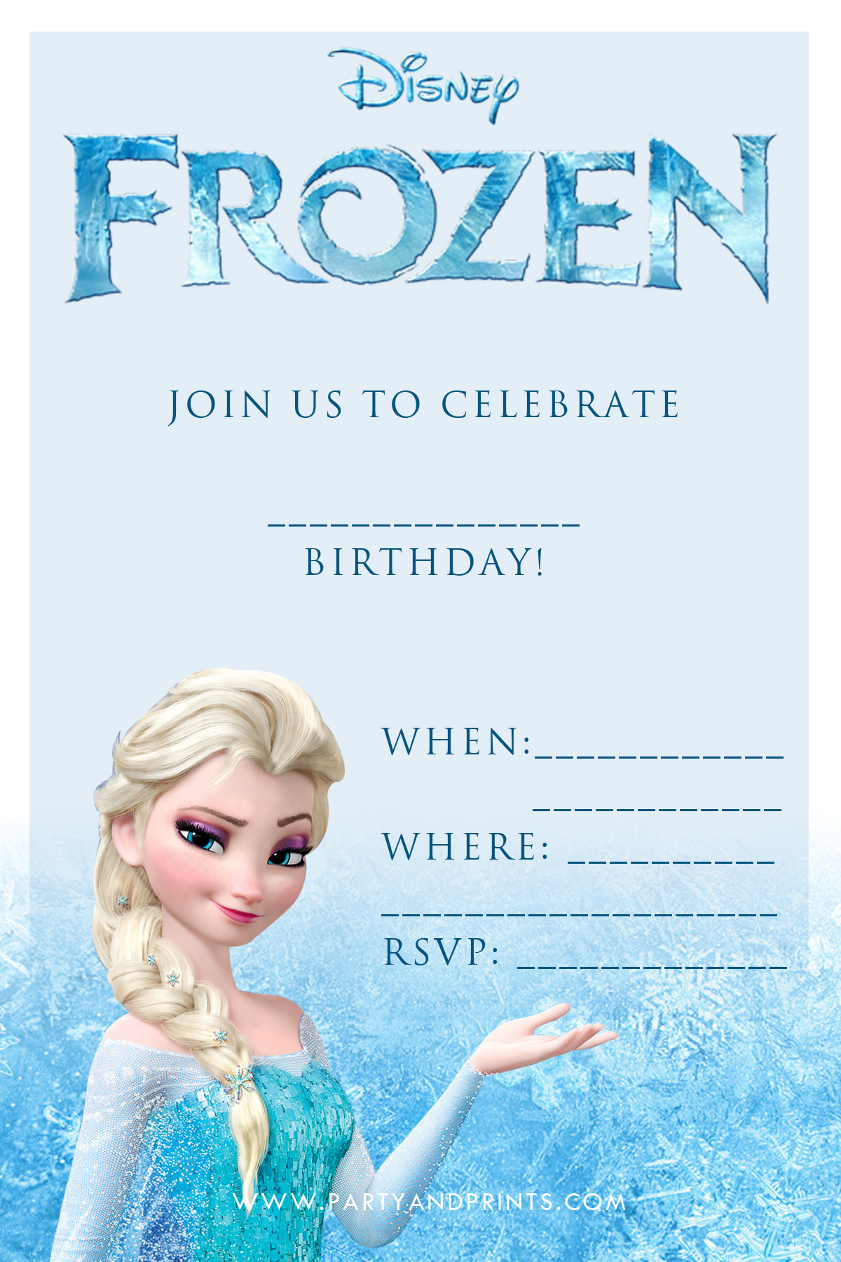 Persnickety image in free printable frozen invitation templates