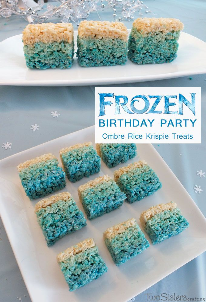 Frozen Birthday Party Ideas - Disney Frozen Ombre Rice Krispie Treats