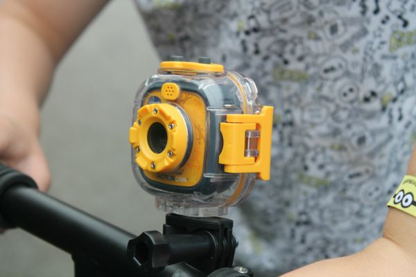 vtech action cam mounted to scooter with waterproof cover