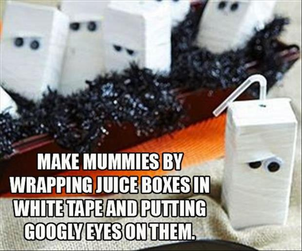DIY Halloween Juice Box Mummies