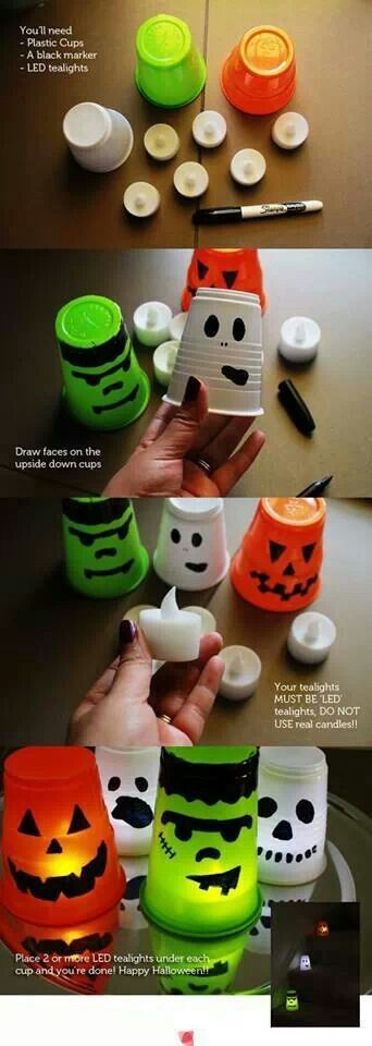DIY Halloween Tea Light Cups