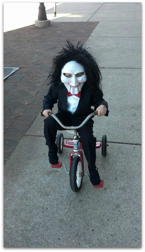 SAW Doll Halloween Costume  sc 1 st  U me and the kids : saw costume with bike  - Germanpascual.Com