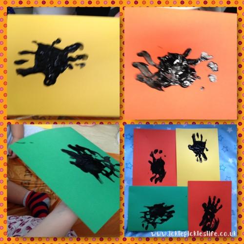 Halloween Hand Print Spiders