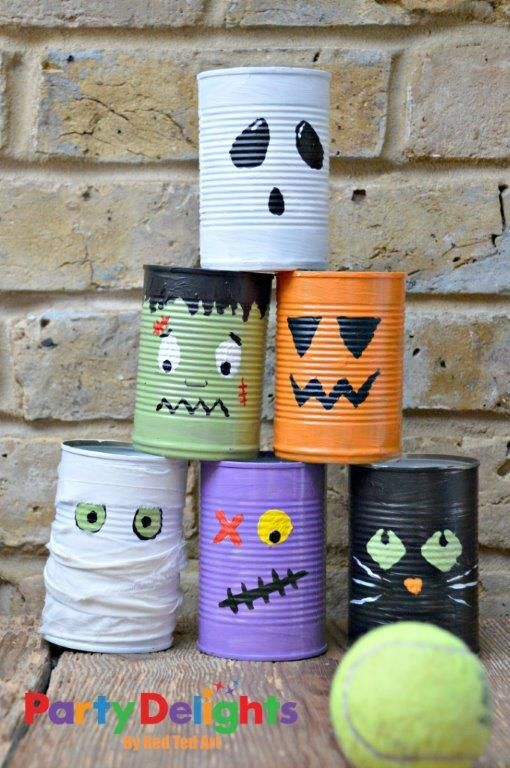 Halloween Party Ideas DIY tin can bowling game tutorial