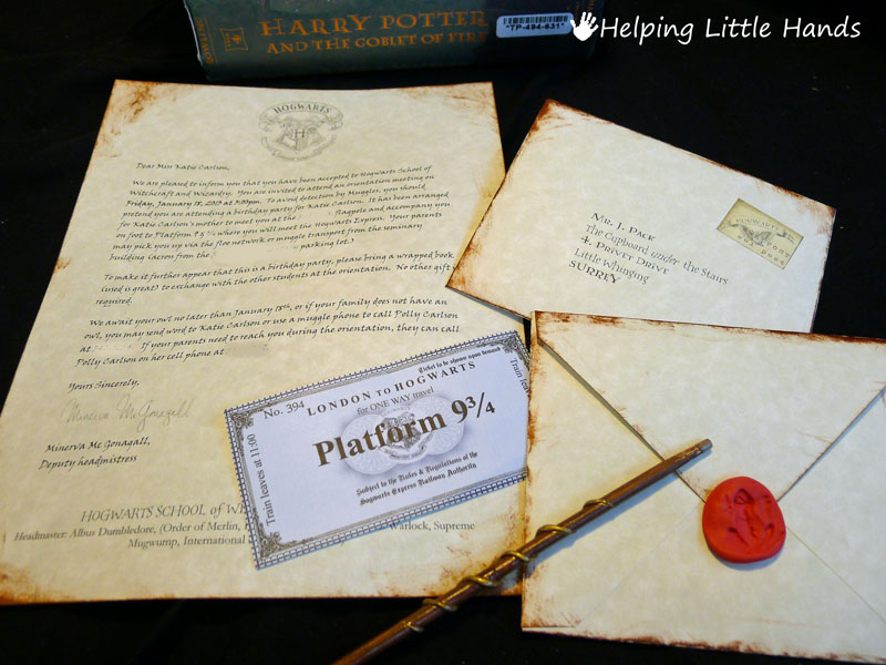 Harry Potter Birthday Party Ideas - DIY Hogwarts Letter of acceptance