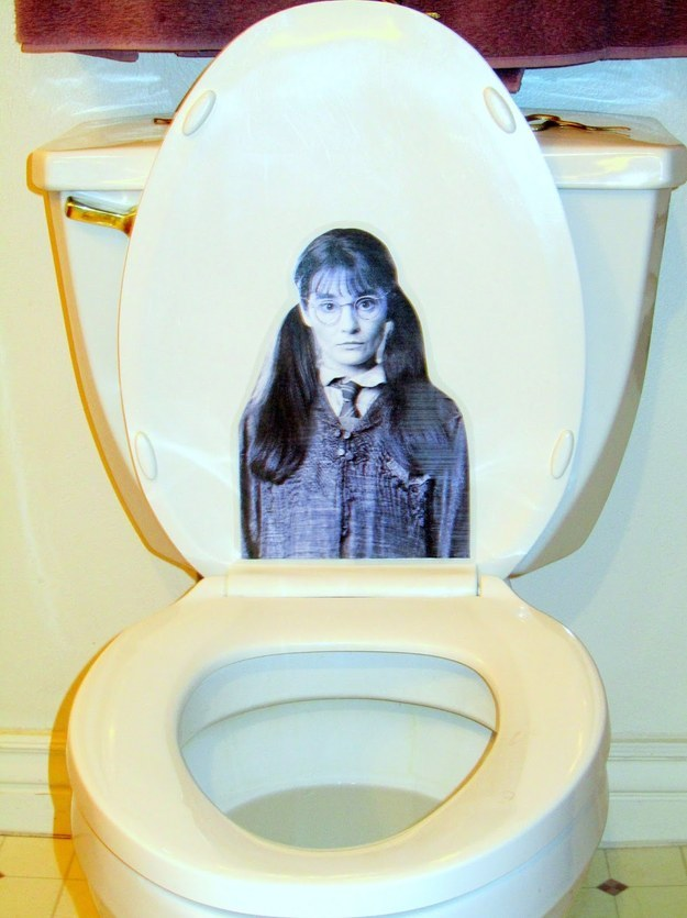 Harry Potter Birthday Party Ideas - Moaning Myrtle printable on toilet seat