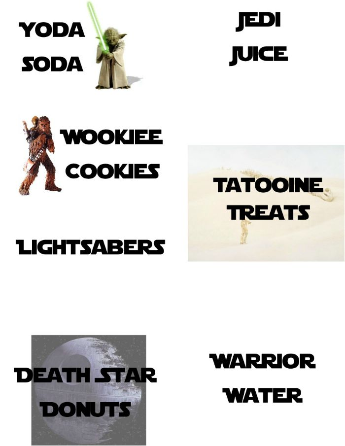 Star Wars free Printable Food Tags