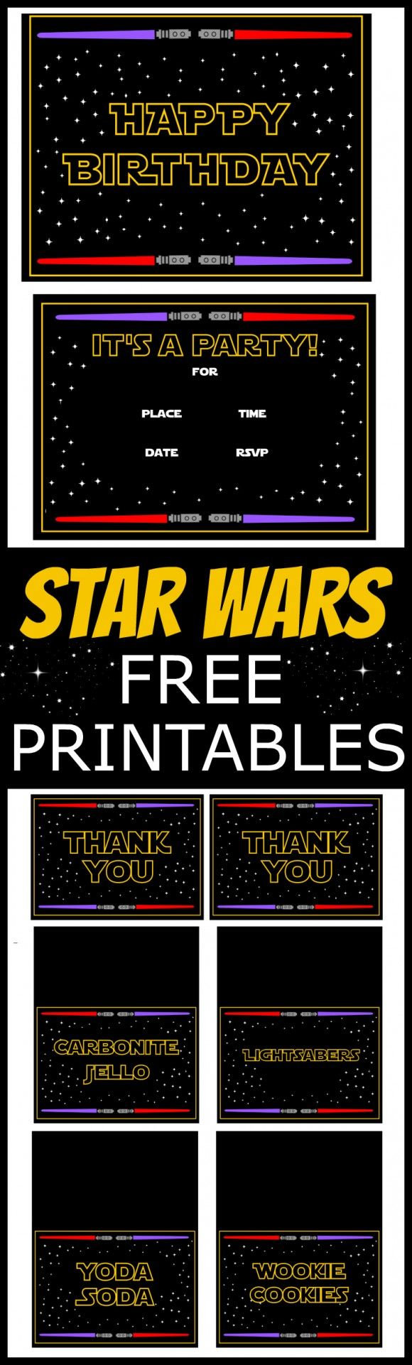 Star Wars themed free birthday party printables