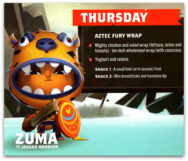 Thursday – Aztec Fury Wrap recipe card for kids
