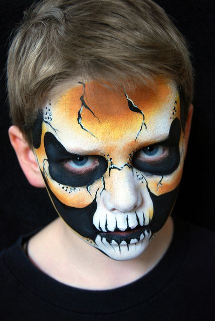 Colourful Skull Halloween Face Painting Ideas