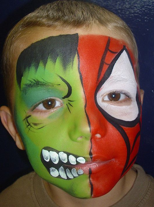 Halloween face painting for kids - Hulk and Spiderman mixed face paint